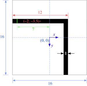Bent waveguide dielectric function and coordinate system.