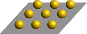 Setup of the three-dimensional periodic array of dielectric spheres over metal.  The unit cell consists of a single sphere and a square segment of the metal plate